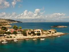 Вид на мыс Каккиво с северо-восточной береговой линии острова Закинф, Ионические острова, Греция