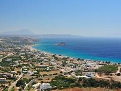 Прекрасный вид с гор в Кефалоса, остров Кос, Греция