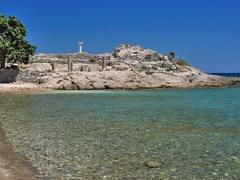 Руины древнего Astipalea город в острове Кефалос Кос, Греция