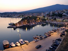 41_Port-in-Limenaria,-island-Thassos-Greece,-in-early-evening