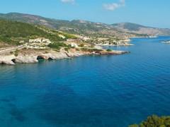 Панорамный пейзаж бухты на острове Закинф, Греция.