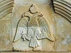рельеф с гербом в монастыре на острове Закинф, Греция