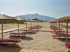 Зонтики и ряды лежаков на песчаном пляже в Греции.